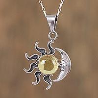 Amber pendant necklace, 'Honey Eclipse'