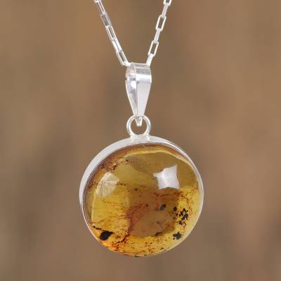 a5b7905b1e332 Circular Amber and Silver Pendant Necklace from Mexico, 'Honey Planet'