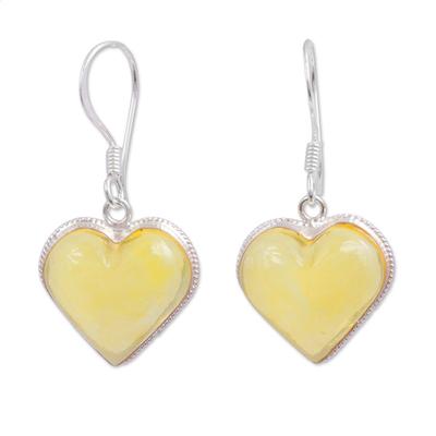 Amber dangle earrings, 'Heartfelt Gleam' - Heart Shaped Natural Amber Dangle Earrings from Mexico
