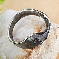 Sterling silver band ring, 'Positive Change' - Oxidized Sterling Silver Band Ring from Mexico