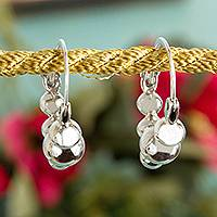 Sterling silver hoop earrings, 'Appealing Bubbles' - Bubble-Shaped Sterling Silver Hoop Earrings from Mexico