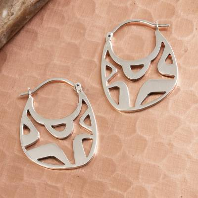 Sterling silver hoop earrings, 'Modern Gleam' - Modern Openwork Sterling Silver Hoop Earrings from Mexico