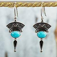 Turquoise dangle earrings, 'History and Culture' - Natural Turquoise and Silver Dangle Earrings from Mexico