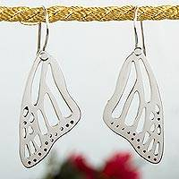 Sterling silver dangle earrings, 'Lovely Wings' - Sterling Silver Butterfly Wing Dangle Earrings from Mexico