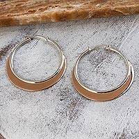 Sterling silver hoop earrings, 'Copper Light' - Copper-Tone Sterling Silver Hoop Earrings from Mexico