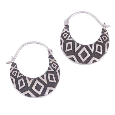 Diamond Motif Sterling Silver Hoop Earrings from Mexico