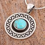 Zigzag Motif Turquoise Pendant Necklace from Mexico, 'Zigzag Corona'