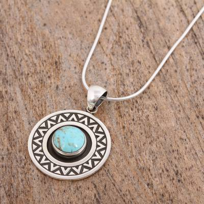 Turquoise pendant necklace, 'Zigzag Corona' - Zigzag Motif Turquoise Pendant Necklace from Mexico