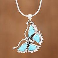 Sterling silver pendant necklace, 'Hope Soars' - Sterling Silver Turquoise Butterfly Pendant Necklace