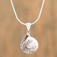 Cultured pearl pendant necklace, 'Loving Starfish' - Cultured Pearl Starfish Pendant Necklace from Mexico