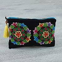 Cotton clutch handbag, 'Mandala Magic' - Black Clutch with Hand Embroidered Multi-Colored Mandalas
