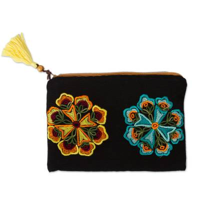 Black Cotton Hand Embroidered Floral Motif Cosmetic Bag
