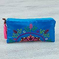Silk clutch handbag, 'Bright Evening' - Silk Satin Hand Embroidered Turquoise Clutch Handbag