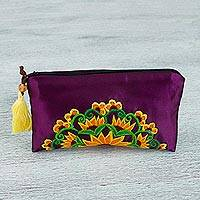 Satin cosmetic bag, 'Sunflower Sunrise' - Purple Satin Hand Embroidered Floral Motif Cosmetic Bag