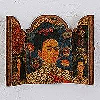 Decoupage wood triptych, 'The Mystery of Frida' - Wood Decoupage Triptych Featuring Frida Kahlo
