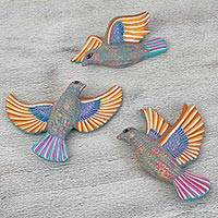 Ceramic wall art, 'Doves in Flight' (set of 3) - Three Multicolor Hand-Painted Ceramic Birds for the Wall