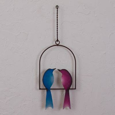 Steel wall sculpture, 'Romantic Birds' - Steel Wall Sculpture of Two Birds from Mexico