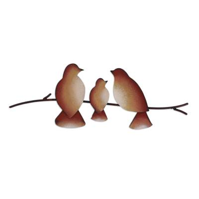 Steel wall sculpture, 'My Pretty Family' - Steel Wall Sculpture of Three Brown Birds from Mexico