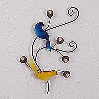 Steel wall sculpture, 'Birdsong' - Intricate Steel Wall Sculpture of Two Birds from Mexico