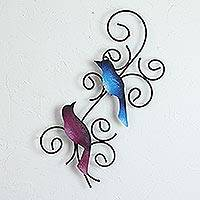 Steel wall sculpture, 'Promised Birds' - Handmade Steel Wall Sculpture of a Bird Couple from Mexico