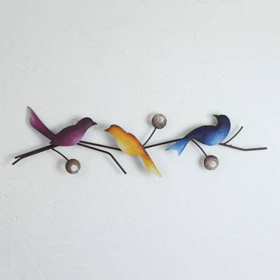 Steel wall sculpture, 'Singing Trio' - Steel Wall Sculpture of Three Colorful Birds from Mexico