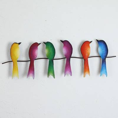 Steel wall sculpture, 'Singing Sextet' - Steel Wall Sculpture of Six Colorful Birds from Mexico