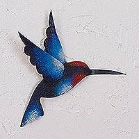 Steel wall sculpture, 'Delightful Blue Hummingbird'