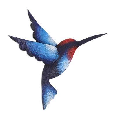 Steel wall sculpture, 'Delightful Blue Hummingbird' - Artisan Handcrafted Blue Hummingbird Steel Wall Sculpture