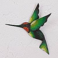 Steel wall sculpture, 'Delightful Green Hummingbird' - Green Hummingbird Artisan Handcrafted Steel Wall Sculpture