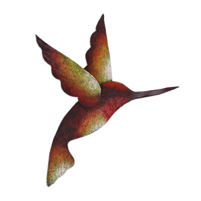 Steel wall sculpture, 'Delightful Hummingbird' - Artisan Handcrafted Hummingbird Steel Wall Sculpture