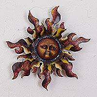 Steel wall sculpture, 'Radiant Star in Brown' - Sun Steel Wall Sculpture in Brown from Mexico