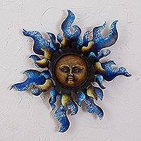 Steel wall sculpture, 'Radiant Star in Blue' - Sun Steel Wall Sculpture in Blue from Mexico