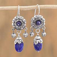 Lapis lazuli dangle earrings, 'Blooming Paradise' - Floral Lapis Lazuli Dangle Earrings from Mexico