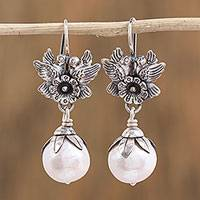 Cultured pearl dangle earrings, 'Purity of Love' - Flower and Bird-Themed Cultured Pearl Earrings from Mexico