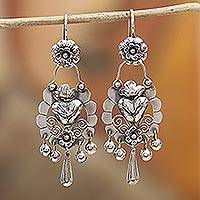 Sterling silver dangle earrings, 'Heartfelt Bloom' - Floral Heart-Shaped Sterling Silver Earrings from Mexico