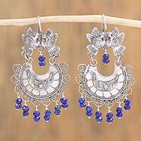 Lapis lazuli chandelier earrings, 'Kissing Birds' - Bird-Themed Lapis Lazuli Chandelier Earrings from Mexico