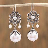 Cultured pearl dangle earrings, 'Glowing Blooms' - Cultured Pearl Flower Dangle Earrings from Mexico