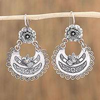 Sterling silver dangle earrings, 'Village Party' - Crescent-Shaped Sterling Silver Dangle Earrings from Mexico