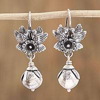 Sterling silver dangle earrings, 'Light and Peace' - Sterling Silver Flower Dangle Earrings from Mexico