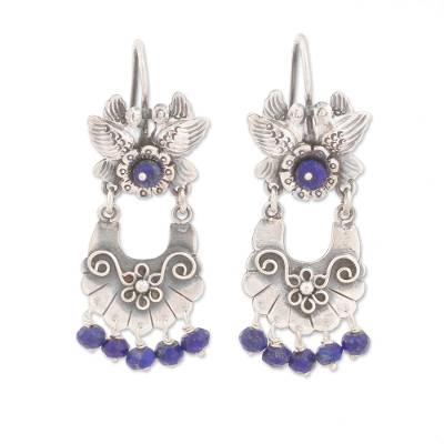 Bird-Themed Lapis Lazuli Chandelier Earrings from Mexico