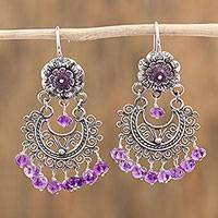 Amethyst chandelier earrings, 'Blooming Elegance' - Floral Amethyst Chandelier Earrings from Mexico