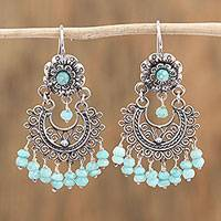 Amazonite chandelier earrings, 'Blooming Elegance' - Floral Amazonite Chandelier Earrings from Mexico