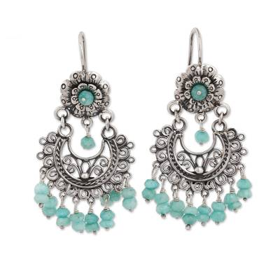 Floral Amazonite Chandelier Earrings from Mexico