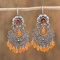 Carnelian chandelier earrings, 'Blooming Elegance' - Floral Carnelian Chandelier Earrings from Mexico