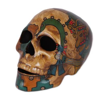 Ceramic skull, 'Aztec God of War' - Huitzilopochtli Aztec War God Ceramic Skull Sculpture