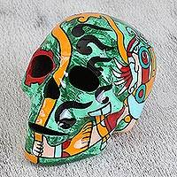 Ceramic skull, 'Aztec God of Rain' - Tlaloc Aztec Rain God Ceramic Skull Sculpture