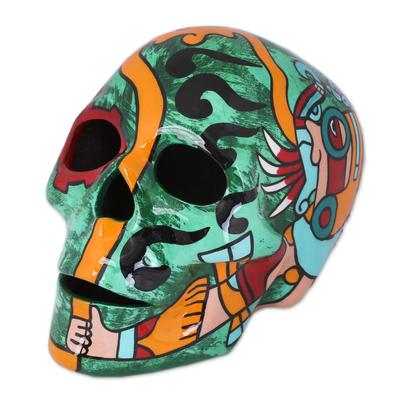 Tlaloc Aztec Rain God Ceramic Skull Sculpture