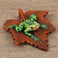 Ceramic sculpture, 'Frog on a Leaf' - Handcrafted Signed Ceramic Frog Sculpture from Mexico