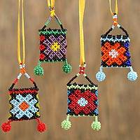 Glass beaded ornaments, 'Floral Pouches' (set of 4) - Floral Glass Beaded Ornaments (Set of 4) from Mexico