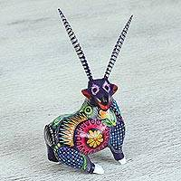 Wood alebrije figurine, 'Giddy Goat' - Multi-Color Cedar Wood Laughing Goat Alebrije